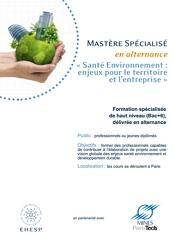 3ème session de sélection pour le Mastère spécialisé santé environnement : enjeux pour le territoire et l'entreprise