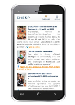 Le site internet de l'EHESP en version smartphone