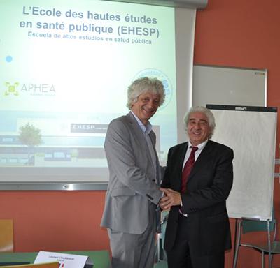 Laurent CHAMBAUD, Directeur de l'EHESP et Santiago SPADAFORA, Responsable du projet LASALUS, Université ISALUD en Argentine
