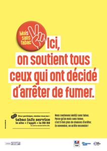 Affiche Mois sans tabac - Ici on soutient tous ceux qui ont décidé d'arrêter de fumer