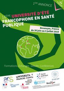Affiche de la 16ème Université d'été francophone santé publique 2019