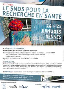 """Affiche du 2e congres """"Le SNDS pour la recherche en santé"""" - 24 et 25 juin 2019"""