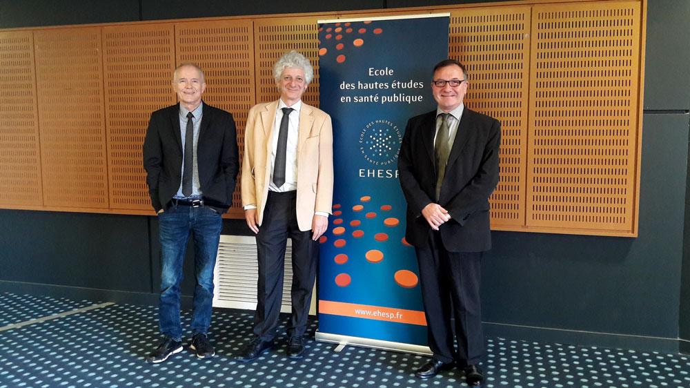 Bernard Jégou, Laurent Chambaud et Thierry Damerval à l'EHESP le 12 novembre 2019