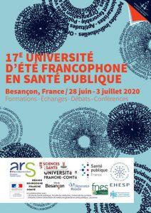 Affiche de la 17e Université d'été francophone en santé publique 2020