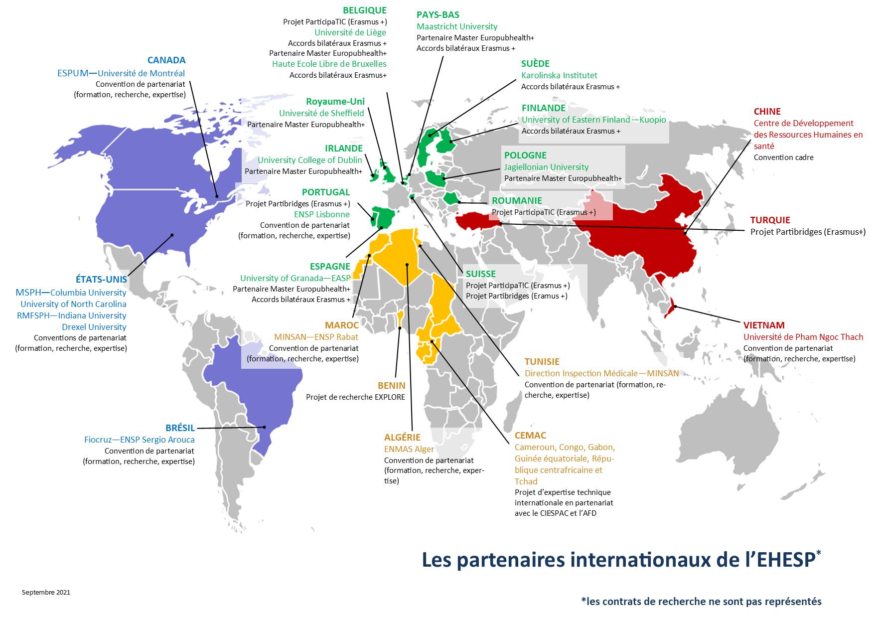 Carte montrant les partenaires institutionnels de l'EHESP dans le monde.